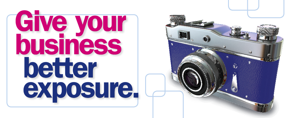 Give your business better exposure. Retro purple camera