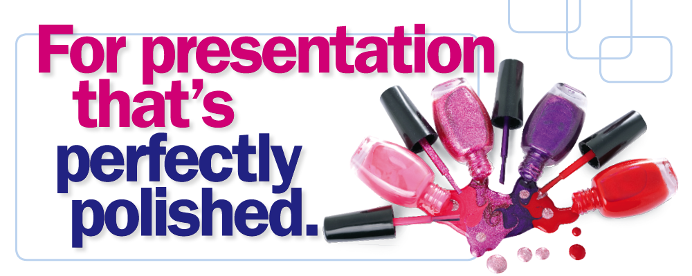 For presentation that's perfectly polished. Bottles of pink and purple nail varnish